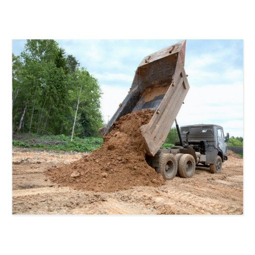 Dump Truck Unloading Dirt Postcard