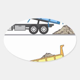 Dump Truck vector Oval Sticker