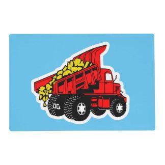 Dump trucks boys tablemat laminated place mat