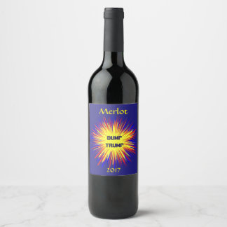 Dump Trump Red Yellow and Blue Wine Label