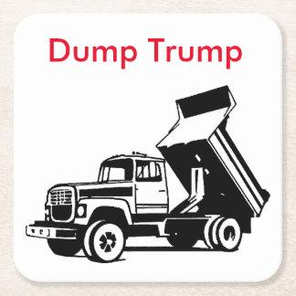 dump trump truck square paper coaster