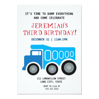 Dumptruck Birthday Invitation