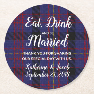 Dundonald Plaid Wedding Favor Paper Coaster