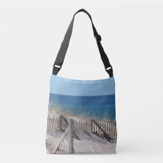 Dune fence and sandy beach crossbody bag