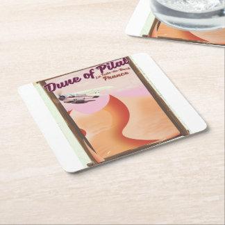 Dune of Pilat, Dunes vintage France travel poster. Square Paper Coaster