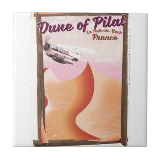 Dune of Pilat, Dunes vintage France travel poster. Tile