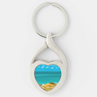 Dunes and Ocean Jericoacoara Brazil Silver-Colored Twisted Heart Keychain