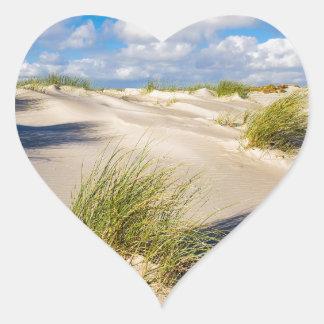 Dunes on the North Sea island Amrum Heart Sticker
