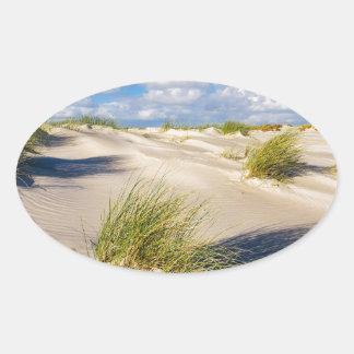 Dunes on the North Sea island Amrum Oval Sticker