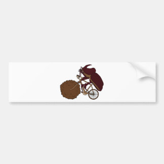 Dung Beetle Riding Bike With Dung Wheel Bumper Sticker