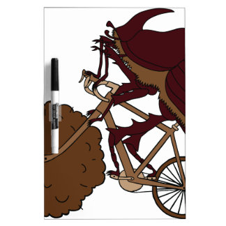Dung Beetle Riding Bike With Dung Wheel Dry-Erase Whiteboard