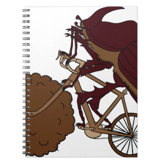 Dung Beetle Riding Bike With Dung Wheel Notebooks