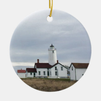 Dungeness Spit Lighthouse Washington State Round Ceramic Ornament