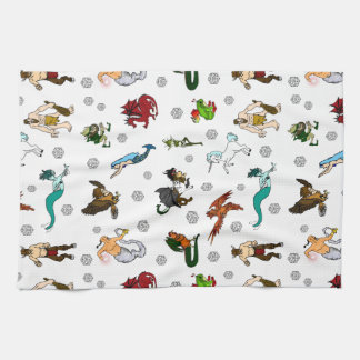Dungeon and Dragons Magical Creatures Kitchen Towel