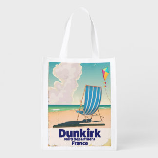 Dunkirk Beach travel poster Reusable Grocery Bag