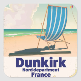 Dunkirk Beach travel poster Square Sticker
