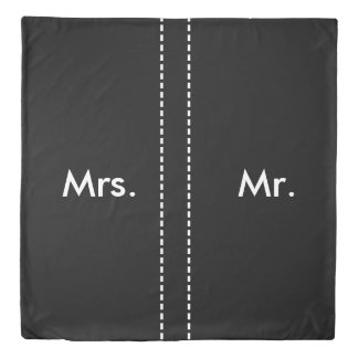 Duo Mrs. and Mr. dotted line Black Duvet Cover