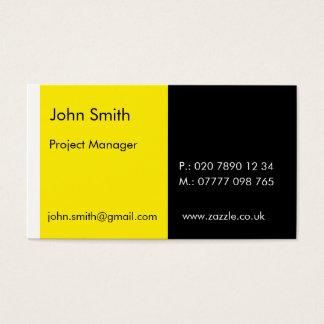 "Duo - Yellow & Black (2"" x 3.5"") Business Card"