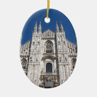 Duomo Milano Gothic Cathedral Church Milan Italy Ceramic Oval Ornament