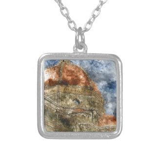 Duomo Santa Maria Del Fiore and Campanile Silver Plated Necklace