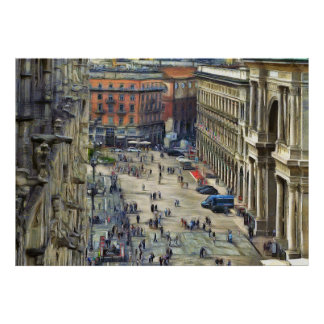 Duomo Square. Victor Emmanuel Gallery Poster