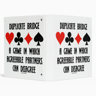 Duplicate Bridge Game Agreeable Partners Disagree Binders