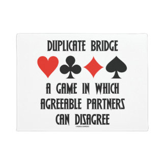 Duplicate Bridge Game Agreeable Partners Disagree Doormat