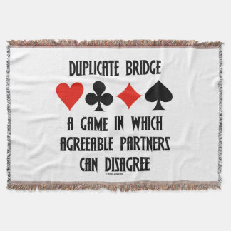 Duplicate Bridge Game Agreeable Partners Disagree Throw Blanket