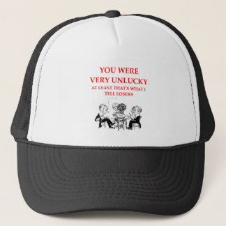 duplicate bridge trucker hat