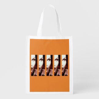 Duplicate girl reusable grocery bag