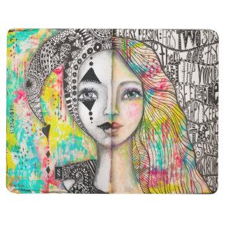 """Duplicity"" Bold Bright Girl Black White Lettering Journal"