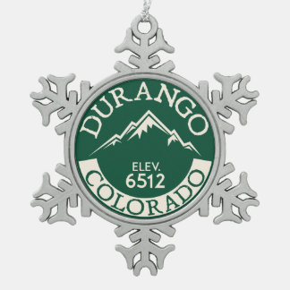 Durango Colorado Skiing Snowboarding Ski Hike Snowflake Pewter Christmas Ornament