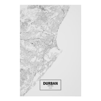 Durban, South Africa (black on white) Poster