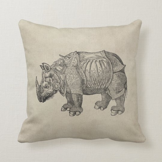 Durer Rhino Throw Pillow