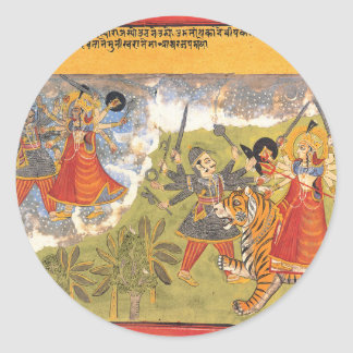 Durga fights the Daitya Raja Round Sticker