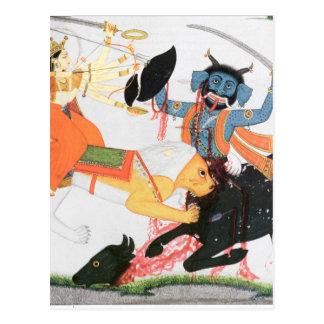 Durga slaying a demon postcard