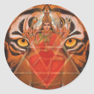 Durga & Tiger Round Sticker