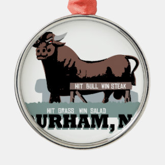 Durham NC Bull Silver-Colored Round Ornament
