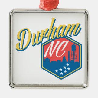 Durham, NC Silver-Colored Square Ornament