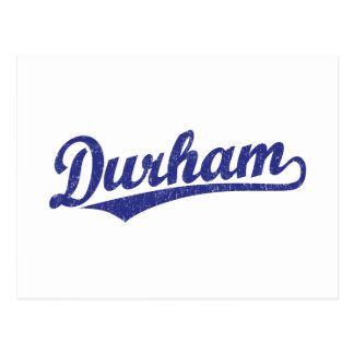 Durham script logo in blue postcard