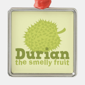 Durian the Smelly Fruit (from South east Asia) Silver-Colored Square Ornament