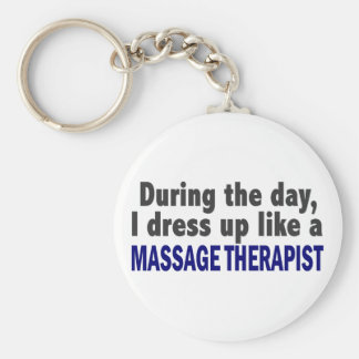 During The Day I Dress Up Like A Massage Therapist Basic Round Button Keychain