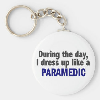 During The Day I Dress Up Like A Paramedic Basic Round Button Keychain