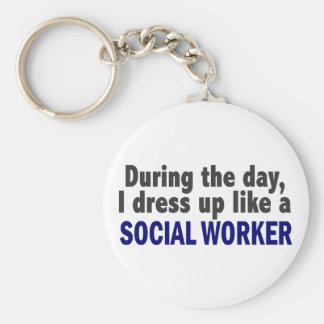 During The Day I Dress Up Like A Social Worker Basic Round Button Keychain