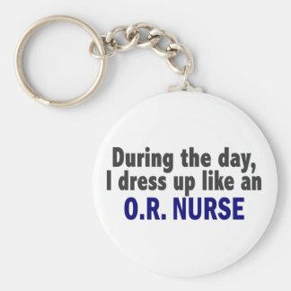 During The Day I Dress Up Like An O.R. Nurse Keychain