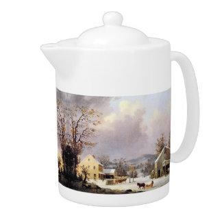 Durrie Winter Snow Horse Sleigh Country Inn Teapot