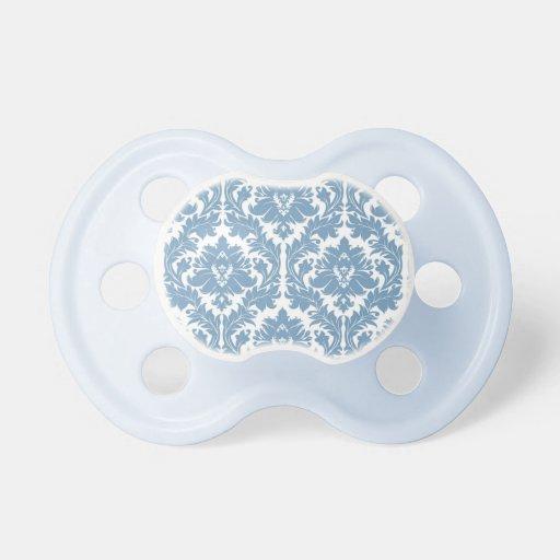 Dusk Blue Damask pattern Pacifier
