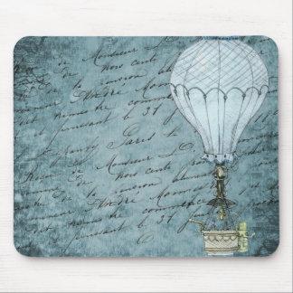 Dusk Blue Hot Air Balloon Steampunk Handwriting Mouse Pad