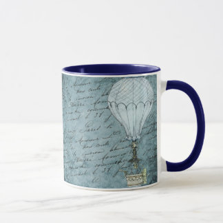 Dusk Blue Hot Air Balloon Steampunk Handwriting Mug