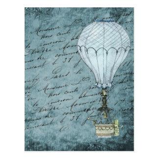 Dusk Blue Hot Air Balloon Steampunk Handwriting Postcard